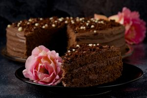 Sweet dark brown chocolate cake with decoration