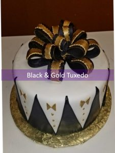 Black and Gold Tux cake2